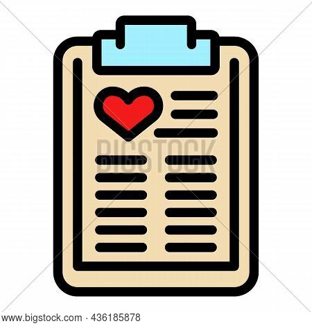 Clipboard Charity Icon. Outline Clipboard Charity Vector Icon Color Flat Isolated