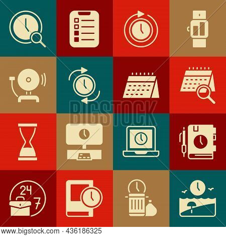 Set Vacation Time, Daily Paper Notepad, Calendar Search, Clock With Arrow, Ringing Alarm Bell, Magni