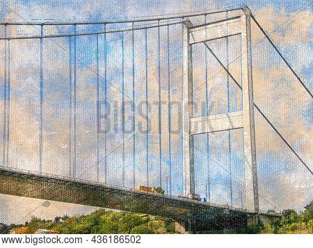 Bridge Over The Bosphorus Strait Against The Blue Sky. Digital Watercolor Painting. Modern Art.