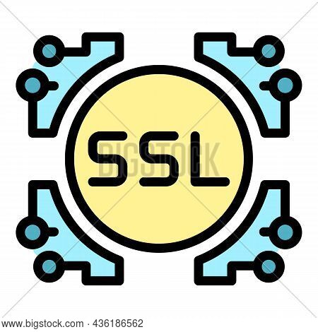 Ssl System Icon. Outline Ssl System Vector Icon Color Flat Isolated