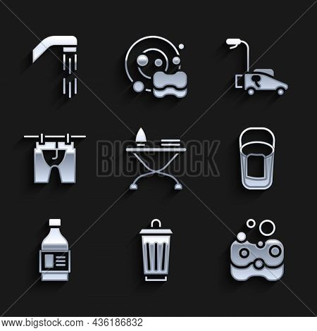 Set Iron And Ironing Board, Trash Can, Sponge, Bucket With Rag, Bottle For Cleaning Agent, Drying Cl