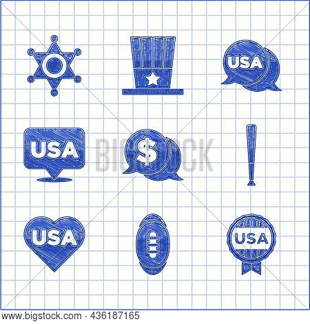 Set Coin Money With Dollar, American Football Ball, Medal Star, Baseball Bat, Usa Independence Day,