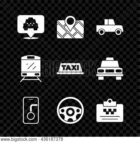 Set Location With Taxi, Gps Device Map, Car, City Navigation, Steering Wheel, Taxi Driver License, T