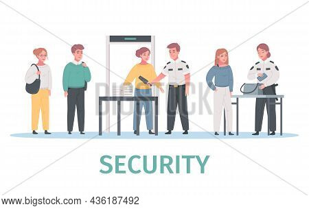Security Guard Agency Service Cartoon Composition With Human Characters Walk Through People Scanner