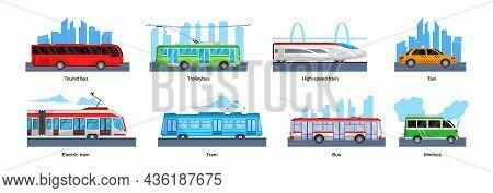 Public Transport Design Concept Set Landscapes With Tourist Bus Trolleybus High Speed Train Taxi Ele