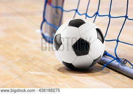 Sport Futsal Background. Football Futsal Ball Goal And Floor. Indoor Soccer Sports Hall.  Indoor Soc