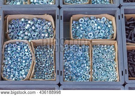 Metal Nuts In Boxes Hardware Store Supply