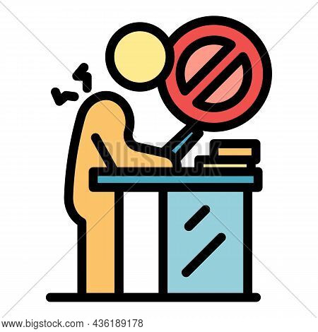 Wrong Working Position Icon. Outline Wrong Working Position Vector Icon Color Flat Isolated