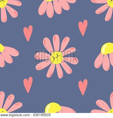 Cute Hand Drawn Daisies With Cute Faces And Hearts On Blue Background. Flat Illustration.