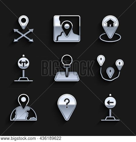 Set Push Pin, Unknown Route Point, Traffic Sign Turn Left, Route Location, Location The Globe, Fork