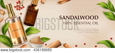 Realistic Sandalwood Horizontal Composition With Images Of Perfume Oil Vials Powder Ripe Leaves And