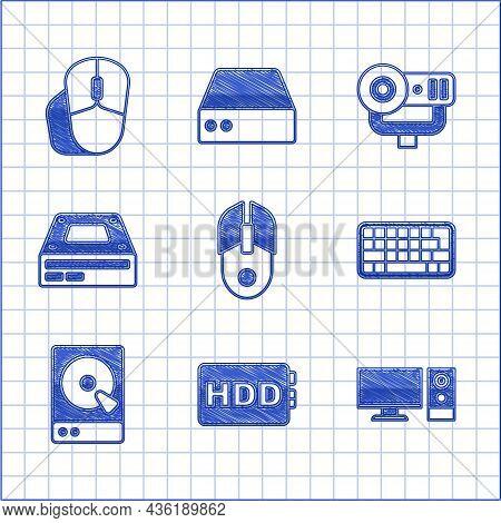 Set Computer Mouse, Hard Disk Drive Hdd, Monitor, Keyboard, Optical Disc, Web Camera And Icon. Vecto