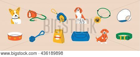 Cartoon Dogs And Equipment. Cute Doodle Shiba Inu, Dachshund And Beagle Home Pets With Supplies, Toy