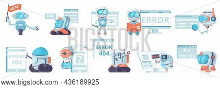 Not Found Results 404 Error Set Of Flat Isolated Icons With Robots Panic And Computer Windows Vector