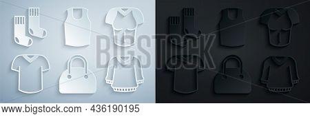 Set Handbag, T-shirt, Sweater, Undershirt And Socks Icon. Vector