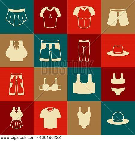 Set Man Hat, Swimsuit, T-shirt, Short Or Pants, Undershirt, Skirt And Leggings Icon. Vector