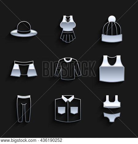 Set Sweater, Shirt, Swimsuit, Undershirt, Leggings, Men Underpants, Winter Hat And Man Icon. Vector