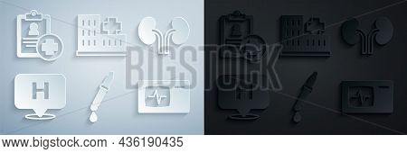 Set Pipette, Human Kidneys, Location Hospital, Monitor With Cardiogram, Hospital Building And Patien