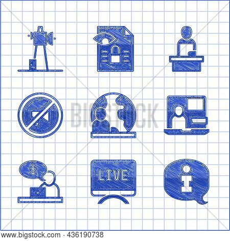 Set World News, Live Report, Information, Television, Censored Stamp, Breaking And Antenna Icon. Vec