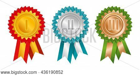 Rosettes Rewards Top Places Icon Set Colorful Symbols Of Victory In Competitions For The First Secon
