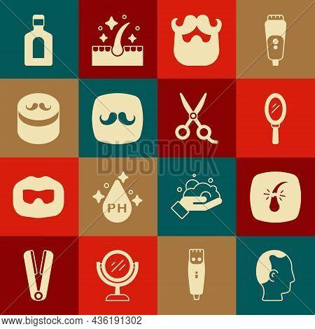 Set Baldness, Broken Hair Follicle, Hand Mirror, Mustache Beard, Barbershop, Gel Wax For Styling, Bo