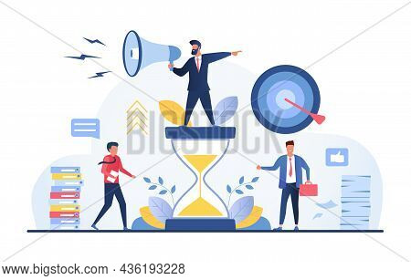 Coaching Goal Achievment. Concept Of How Coach Helps Employees Achieve Goals. Time Management, Selfd