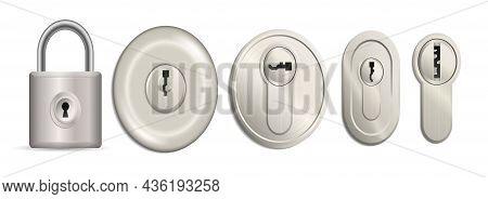 Metallic Lockers Isolated With Key Holes Template. Realistic Keyholes Mechanisms For Padlocks Isolat