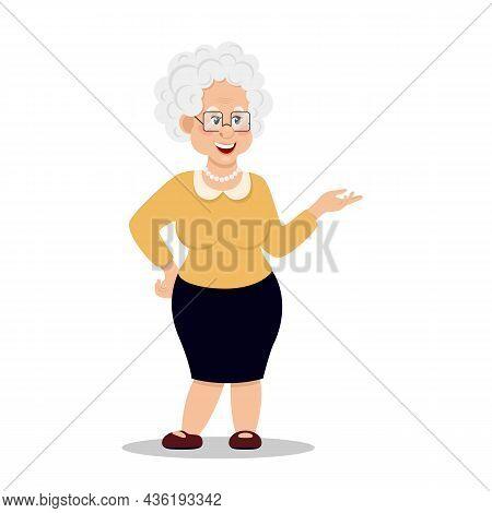 Grandmother Wearing Glasses. An Elderly Woman. Vector Illustration Eps10