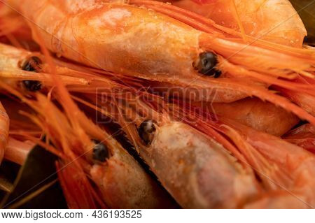 Atlantic Shrimp Cooked With Allspice And Bay Leaf Close-up, Surface Texture