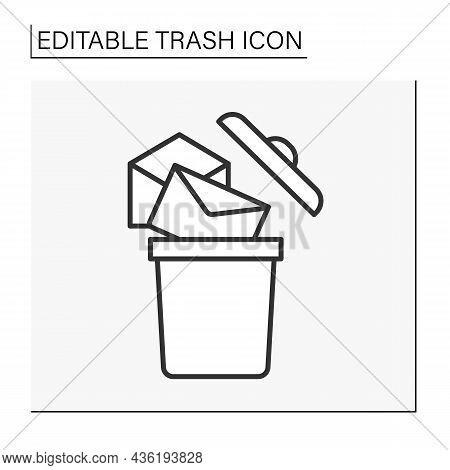 Utilization Line Icon. Recycling Unread Letters Into Bin. Householding. Trash Concept. Isolated Vect