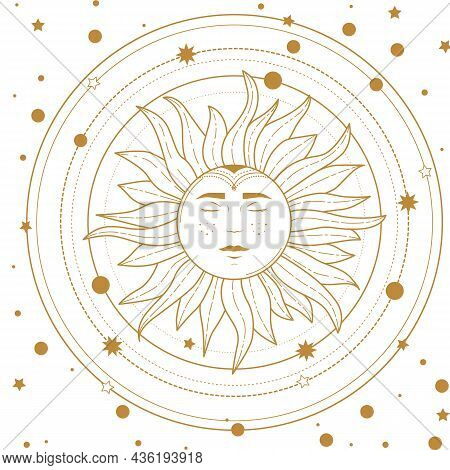 Magical Banner For Astrology, Celestial Alchemy. Golden Crescent Sun In The Sky With Clouds, Moon An