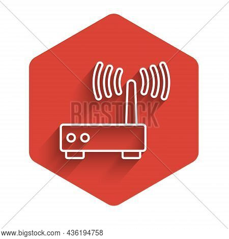 White Line Router And Wi-fi Signal Icon Isolated With Long Shadow Background. Wireless Ethernet Mode