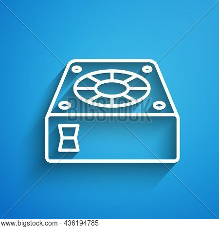 White Line Computer Cooler Icon Isolated On Blue Background. Pc Hardware Fan. Long Shadow. Vector