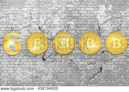 Wall Of Bricks With Bitcoin At 60000 Dollars On White 3d Background. Crypto-currency And Store Of Va