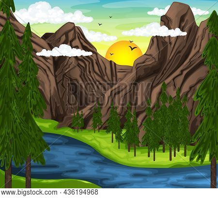 Mountain Landscape With Meadow. Green Country Landscape. Vector Illustration Eps10