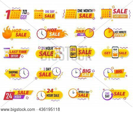 Sale Countdown Badges. Last Minute Offer Banner, One Day Sales And 24 Hour Sale Promo Stickers. Mini