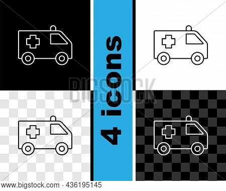 Set Line Ambulance And Emergency Car Icon Isolated On Black And White, Transparent Background. Ambul
