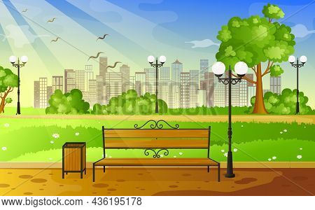 City Summer Park With Green Trees Bench, Walkway And Lantern. Bench With Tree And Lantern In The Par