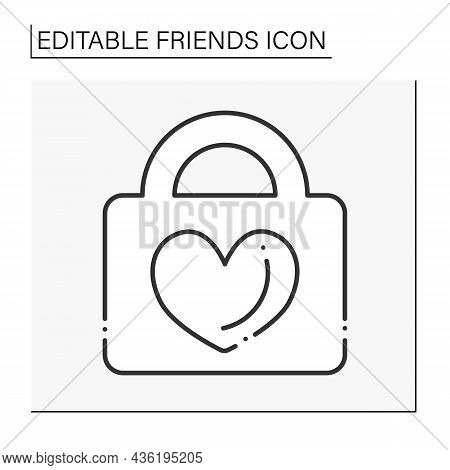 Fidelity Line Icon. Faithfulness To Person. Heart On Lock. Love And Support For Soulmates. Friends L