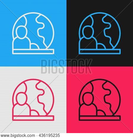 Pop Art Line World News Icon Isolated On Color Background. Breaking News, World News Tv. Vector