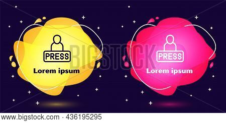 Set Line Journalist News Reporter Icon Isolated On Blue Background. Abstract Banner With Liquid Shap