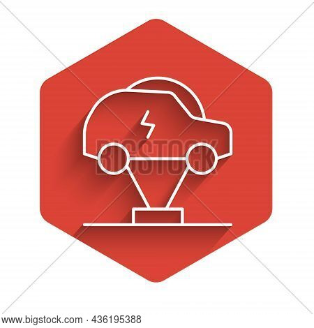 White Line Electric Car And Electrical Cable Plug Charging Icon Isolated With Long Shadow Background