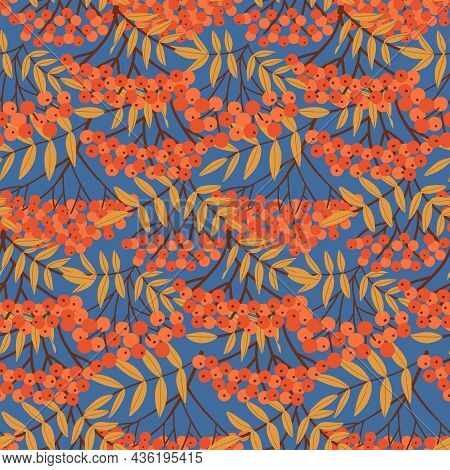 Rowan Berry Branches And Leaves Seamless Pattern. Background With Simple Abstract Hand Drawn Red Ber