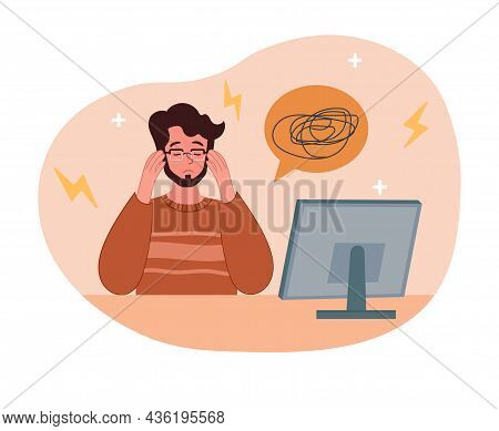 Concerned Office Workers. Man Sitting At Computer And Trying To Solve Problem, Concept Of Thinking.