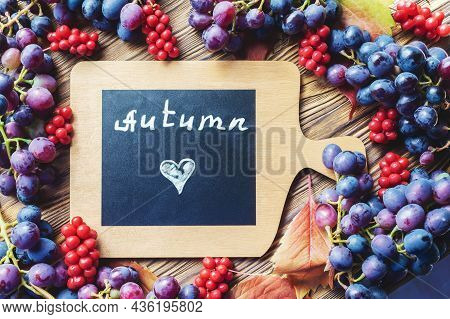 Bright Autumn Background Of Grapes And Lemongrass With A Copy Of The Space. Top View. Inscription I
