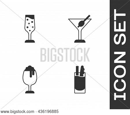 Set Cocktail Bloody Mary, Glass Of Champagne, Beer And Martini Glass Icon. Vector
