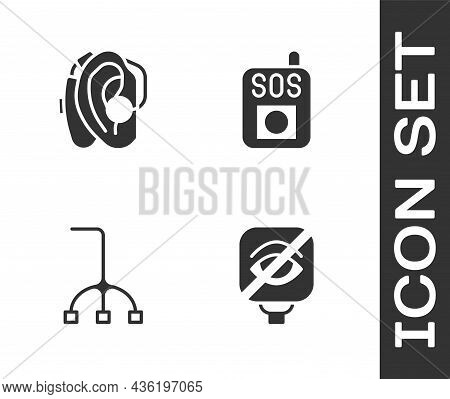 Set Blindness, Hearing Aid, Walking Stick Cane And Press The Sos Button Icon. Vector
