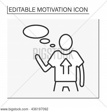 Incentive Motivation Line Icon. Person Motivated By Rewards And Opinions Of Others. Motivation Conce