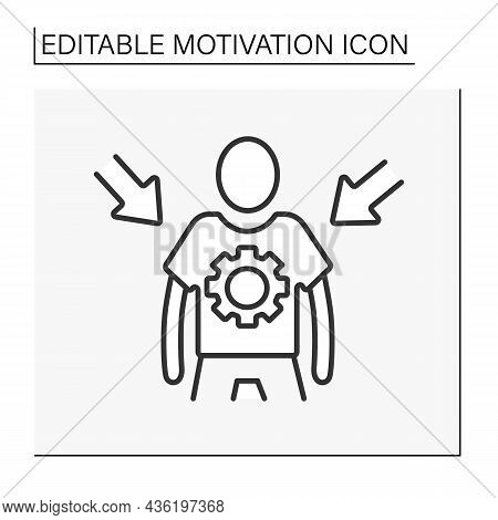 Personal Control Line Icon. Self-control Of Actions And Emotions. Motivation Concept. Isolated Vecto