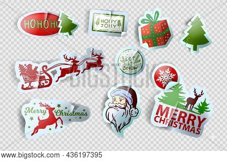 Christmas Sticker Vector Set, X-mas Winter Holiday Label Kit, New Year Cute Tag Illustration, Santa